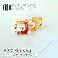 PVC Zip Bag (S) - 12 X 11 X 4cm - 10Pcs