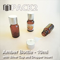10ml Amber Bottle with Silver Cap and Dropper Insert - 10Pcs