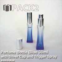 30ml Blue Bottle with Silver Cap and Trigger Spray - 10Pcs