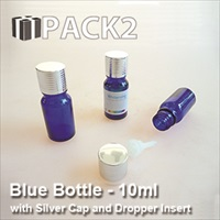 10ml Blue Bottle with Silver Cap and Dropper Insert - 10Pcs