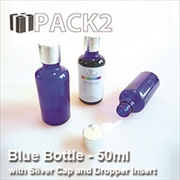 50ml Blue Bottle with Silver Cap and Dropper Insert - 10Pcs