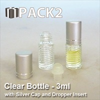 3ml Clear Bottle with Silver Cap and Roll On Insert - 10Pcs