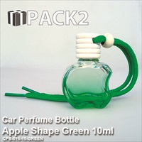 10ml Car Perfume Bottle Apple Shape Green - 10Pcs