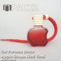 10ml Car Perfume Bottle Apple Shape Red - 10Pcs