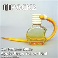 10ml Car Perfume Bottle Apple Shape Yellow - 10Pcs