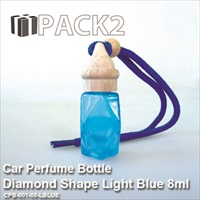 8ml Car Perfume Bottle Diamond Shape Light Blue - 10Pcs