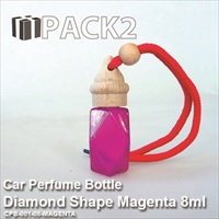8ml Car Perfume Bottle Diamond Shape Magenta - 10Pcs