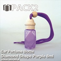 8ml Car Perfume Bottle Diamond Shape Purple - 10Pcs