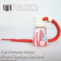 10ml Car Perfume Bottle Floral Design Red - 10Pcs