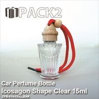 15ml Car Perfume Bottle Icosagon Shape Clear - 10Pcs
