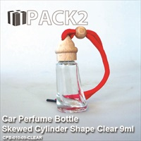 9ml Car Perfume Bottle Skewed Cylinder Shape Clear - 10Pcs