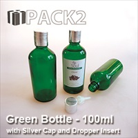 100ml Green Bottle with Silver Cap and Dropper Insert - 10Pcs