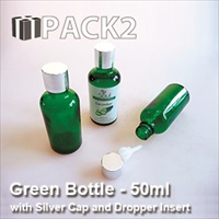 50ml Green Bottle with Silver Cap and Dropper Insert - 10Pcs